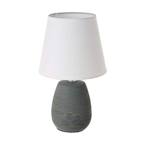 Lámpara de mesa con tulipa rústica de cerámica gris de 17x17x27 cm