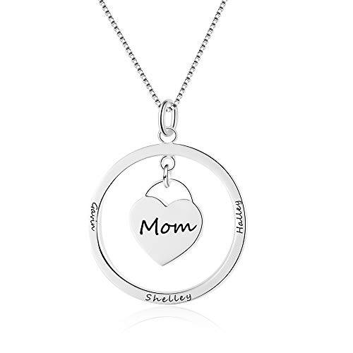 Collar Personalizado para Mujer Colgante de Corazón de Plata con 4 Nombres Grabado Madre Hija Collar Regalo para el Día de la Madre San Valentín Navidad