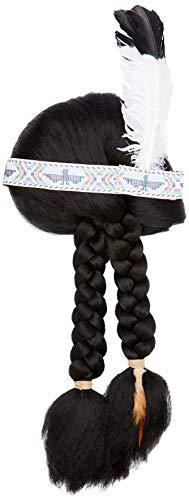 Smiffys Damen Indianerin Perücke mit Zöpfen, Perücke mit Kopfschmuck, Schwarz, One Size, 42042