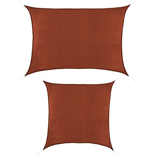 BB Sport Sonnensegel 2m x 3.5m Terrakotta HDPE Rechteckig UV Schutz Garten Terrasse Camping Sonnenschutz Windschutz Schattenspender