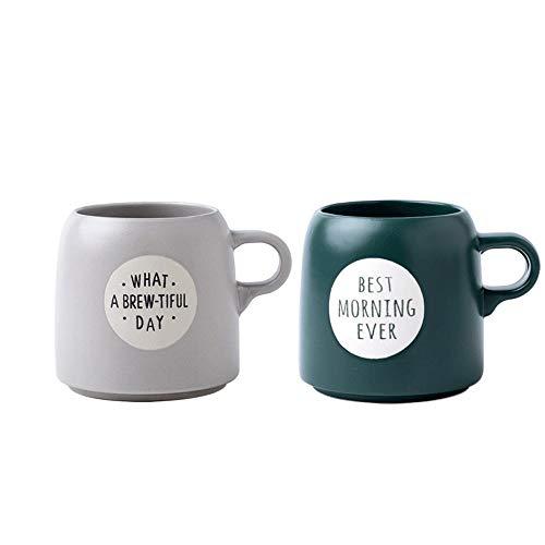 Rghfn Estilo Europeo Taza Grande, Creativo casero Barrigón Copa, Desayuno Taza de Avena, de Gran Capacidad Taza de cerámica Taza de café (Color : Green+Gray)