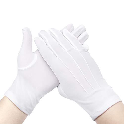 12 Paar weiße Baumwollhandschuhe, weich, leicht, Arbeitshandschuhe, Schlaghandschuhe, Innenhandschuhe, Cricket-Handschuhe