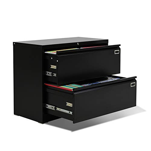 2 Drawer Lateral File Cabinet, Steel Lateral Filing Cabinet with Lock for Legal and Letter Size, Greenvelly Lockable Metal Office File Cabinets with 4 Adjustable Hanging Bars and 2 Keys (Black)