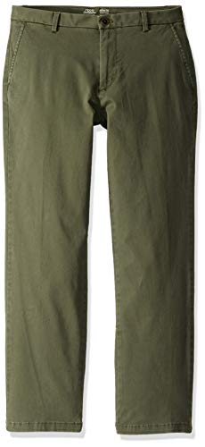 IZOD Men's Saltwater Stretch Flat Front Straight Fit Chino Pant, Thyme, 38W x 32L