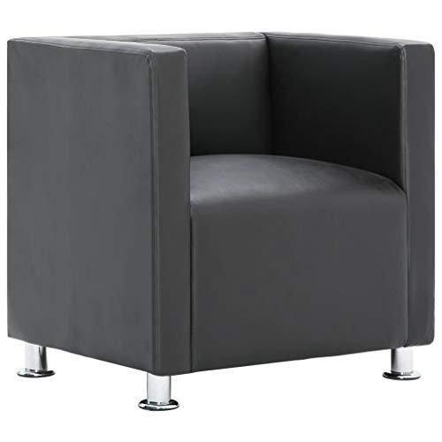 vidaXL Sillón Forma Cubo Cuadrado Piel Sintética Diseño Moderno Elegante Butaca Cuero Artificial Vintage Estilo Le Corbusier Patas Cromadas Gris