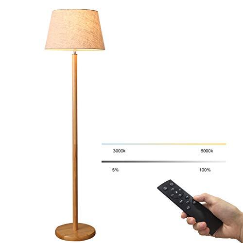 GUSICA LED Dimmbar 12W Wohnzimmer Stehlampe, Holz Stehleuchte mit Fernbedienung E27 Standleuchte mit Leinenstoff Lampenschirm Skandinavischer Stil Leselampe für Schlafzimmer Arbeitszimmer,Grau