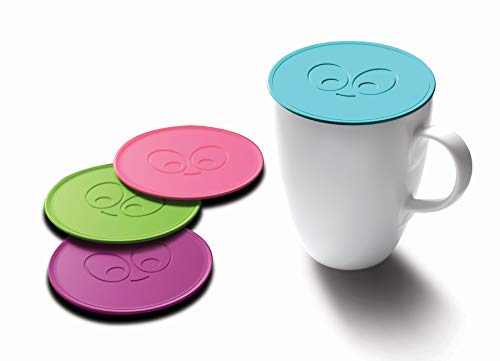 Drink Tops Tap and Seal Coffee and Tea Covers - Gently Suctions to Mugs to Keep Drinks Warmer Longer and Reduce Splashing - BPA Free Silicone Coffee Mug Cover - 4pk