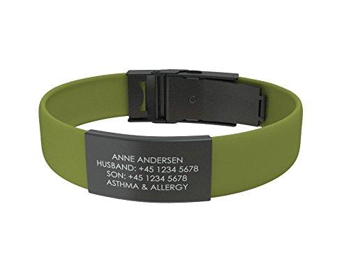 Djuva ID Armband (Modell Beat Trim Black) - Personalisierte ID, größenverstellbares Identifikationsarmband, ID Armband und Sport ID (Waldgrün)