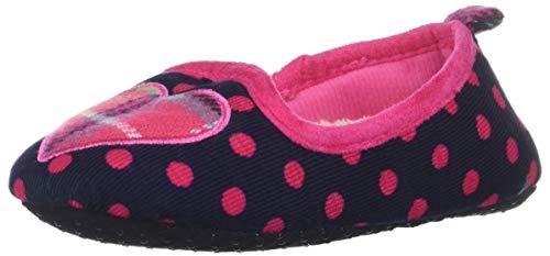 Dearfoams Girls Polka Dot Loafer with Plaid Heart Slipper, Peacoat, 9-10 Youth US Little Kid