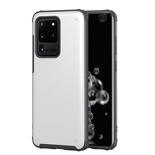 Happy-L Funda para Samsung Galaxy S20 Ultra, híbrido armadura protección cubierta del teléfono, anti-arañazos, anti-caídas, a prueba de golpes, PC+TPU [soporte de carga inalámbrica] (color: blanco)
