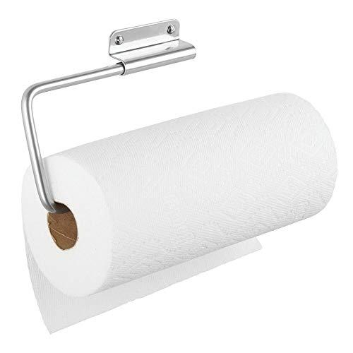 mDesign Portarrollos de pared para papel de cocina – Práctico soporte para papel de cocina, trapos o toallas – Ideal portarrollos de cocina para pared o armarios – plateado