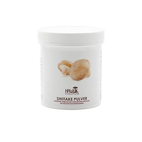 Hawlik Vitalpilze - Shiitake Pulver - 100g - GMP Qualität - Shellbroken Verfahren - ausschließlich aus reinem Fruchtkörper