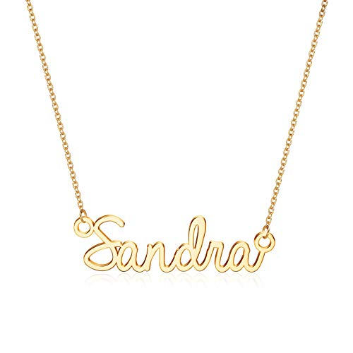Turandoss Sandra Necklace, 14K Gold Plated Name Necklace Sandra Jewelry Gifts Gold Sandra Name Necklace for Women Jewelry Name Necklace Personalized