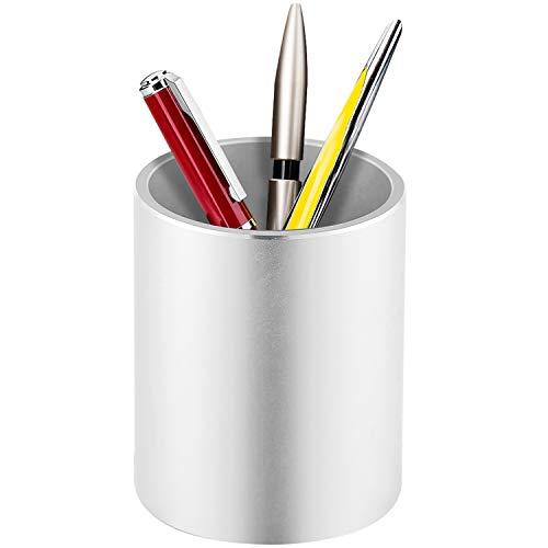 Richboom Metal Pen Holder Pencil Holder, Aluminum Desktop Pencil Cup Stationery Organizer, Silver