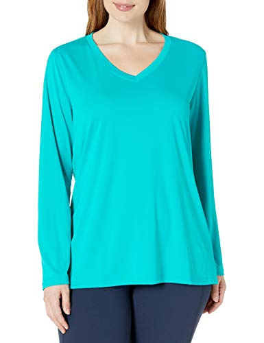 JUST MY SIZE Women's Plus Size Active Long Sleeve Cool Dri V-Neck Tee, UPBEAT Teal, 2X Control Uv Long Sleeve Top