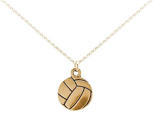 Gemshine Halskette Volleyball Anhänger: Zuspieler, Angreifer, Steller, Blocker, Libero für Spieler, Trainer, Team. Silber oder vergoldet - Sportschmuck Made in Spain, Metall Farbe:Silber vergoldet