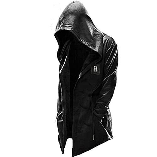 LEXUPA Hoodie Long Sleeve Suits Assassin's Creed Men's Hooded Pullover Jacket Cosplay Coat Drawstring Hoodie Black