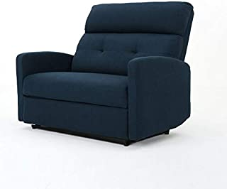Christopher Knight Home Halima Fabric 2-Seater Recliner, Navy Blue