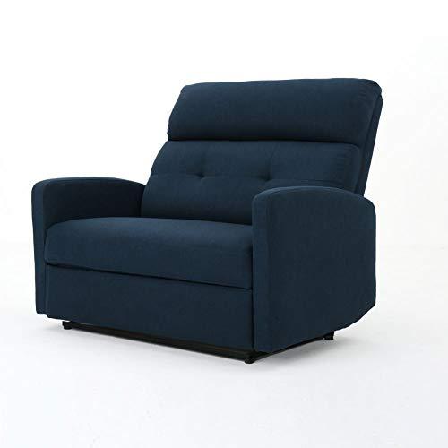 Hana Plush Cushion Tufted Back Loveseat Recliner (Fabric/Navy Blue)