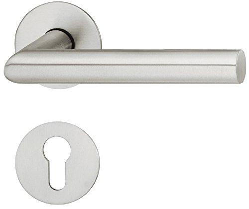 Design Drücker-Garnitur Set Tür-Griff Edelstahl für Zimmertüren Türklinke auf runder Rosette | Modell Version LDH 2198 | Edelstahl matt | PZ-Profilzylinder | Baubeschläge von JUVA®