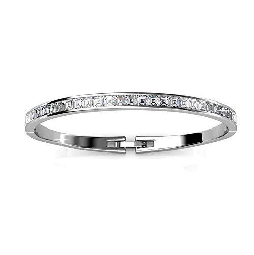 Bracelet jonc en argent plaque rhodium 18 carats avec...