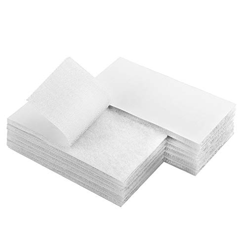 Melsan 2x4 inch Adhesive Square Hook and Loop Tape -12 Sets, Sticky Back Fastener for Indoor or Outdoor Use - Instead of Holes and Screws, White