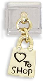 Clearly Charming Love to Shop Shopping Bag Dangle Italian Charm Bracelet Link