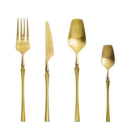 AF-WAN - Set di posate in acciaio inox, 4 pezzi, set di posate in acciaio inox, di alta qualità, multiuso, per casa e cucina, con confezione regalo (oro, 4)