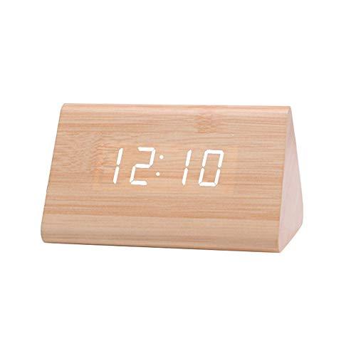 Reloj despertador de pared con linterna LED, digital, de madera, USB, luz nocturna, reloj despertador, termómetro de exhibición, adecuado para Halloween, regalos de Navidad