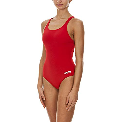 arena Women's Madison Athletic Thick Strap Racer Back One Piece Swimsuit Red/Metallic Silver, Size 28L