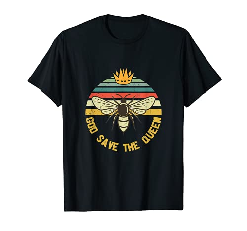 Dieu Save the Queen Bee Hives Apiarist Crown T-Shirt