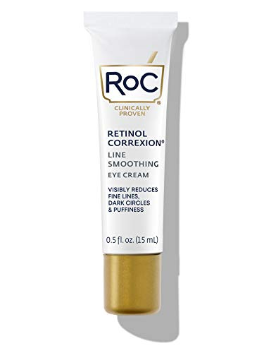 RoC Retinol Correxion Line Smoothing AntiAging Retinol Eye Cream for Dark Circles Puffy Eyes Ounce Packaging May Vary, Multi, 0.5 Fl Oz