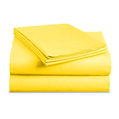 BASIC CHOICE - Microfiber 3 Piece Bed Sheets, Deep Pocket Fitted Sheet, Flat Sheet with Pillowcase (Twin, Yellow)
