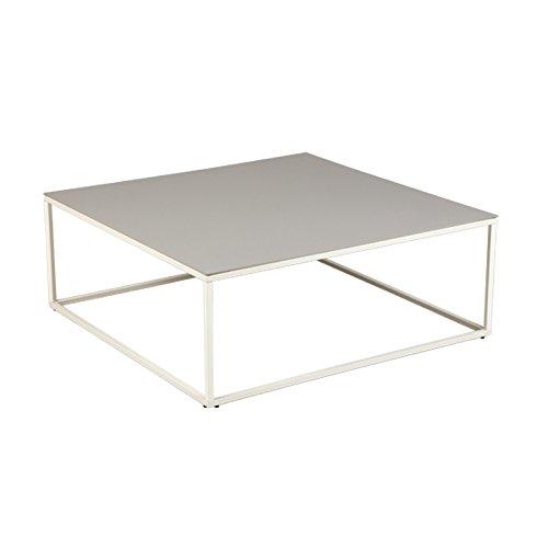 Tousmesmeubles Table Basse Carrée Plateau Céramique Gris Clair - Dallas - L 90 x l 90 x H 34 - Neuf