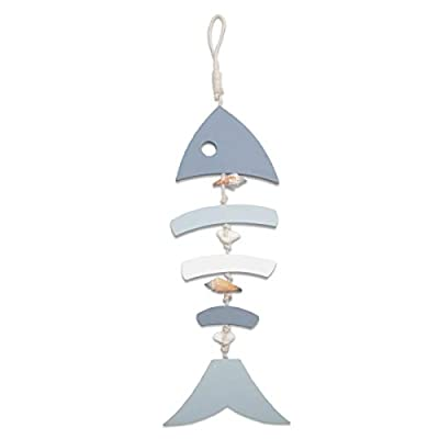 YiYa Wooden Decor Fish Bones with Conch and Shells for Nautical Decoration, Wall Decor Door Hanging Ornament Beach Theme Garden Office Home Decoration(Light Blue)