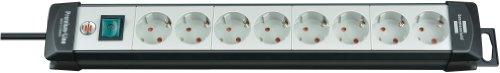 Brennenstuhl Premium-Line, Steckdosenleiste 8-fach (Steckerleiste mit Schalter und 5m Kabel - 45° Anordnung der Steckdosen, Made in Germany) schwarz/grau