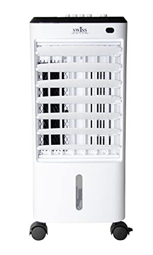 SWISSWAY Climatizador Portátil Frío Fresh Essence Ventilador de Torre con Aromatización del Aire 3 Velocidades Función Frío Oscilación 120º Climatizador Evaporativo sin Tubo