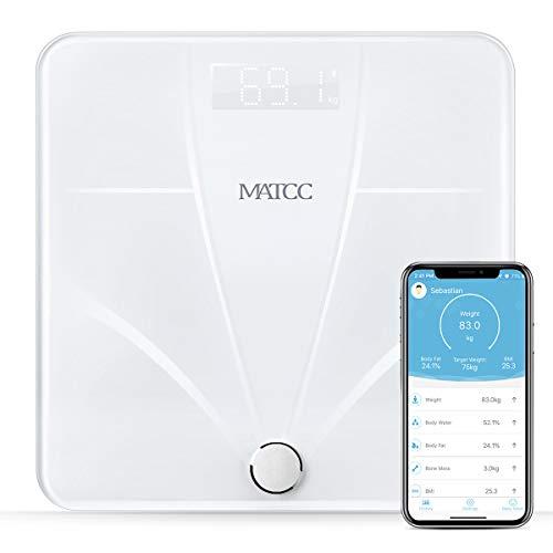 Körperfettwaage Digital Personenwaage Hizek Smart Waage mit App, Wifi und Bluetooth, Körperwaage mit Batterie für Körperfett, Protein, Muskelmasse, Wasser, Viszerales Fett, Knochengewicht, BMR