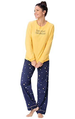 PajamaGram Women Pajamas Set Cotton - Women PJ Sets, Starry Night, M 8-10