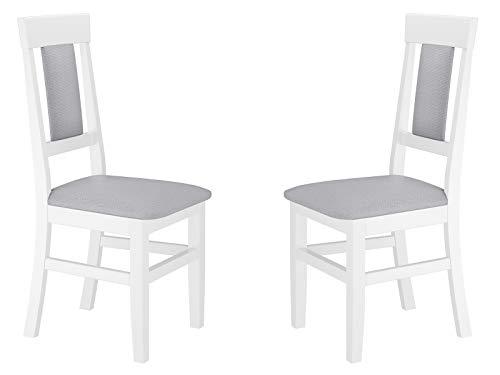 Erst-Holz® Gepolsterter Massivholz-Stuhl Küchenstuhl Esszimmerstuhl in weiß-grau V-90.71-25W, Menge:Doppelpack