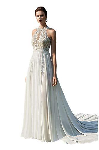 Halter Neckline Destnation Wedding Dresses Chiffon Lace Button Back Off Shoulder Boheim Bridal Gowns Ivory 16