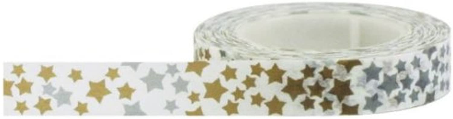 Decorative Paper Tape 10 mm x 15 m Silber and and and Gold Stars Tape B00HI4AS1W     | Günstigen Preis
