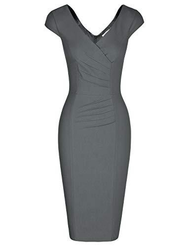 MUXXN Women's Elegant Cap Sleeves Bandage Bodycon Work Pencil Dress (Gray S)