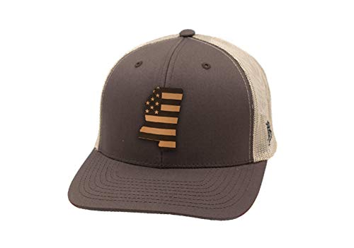 Branded Bills 'Mississippi Patriot' Leather Patch Hat Curved Trucker - OSFA/Brown/Tan