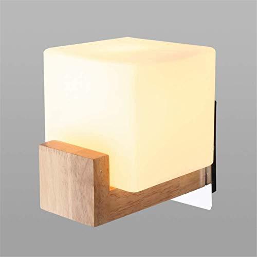 Aplique de pared industrial LED, Muro de madera de estilo japonés SCONCE Sencillo iluminación interior Lámpara de iluminación con frost cuadrado Lámpara de pared de sombra de vidrio Edison E27 Luz de