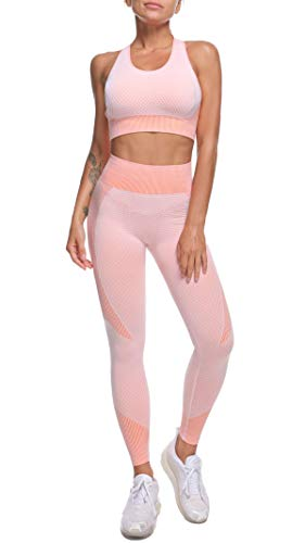 OLCHEE Womens 2 Piece Tracksuit Workout Set - High Waist Leggings and Sport Bra