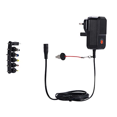 EMEXIN Adaptador de corriente universal de 18 W CA a CC Multi Voltaje 3 V 4.5 V 5 V 6 V 7.5 V 9 V 12 V Cargador adaptador de fuente de alimentación para electrónica doméstica (Negro)