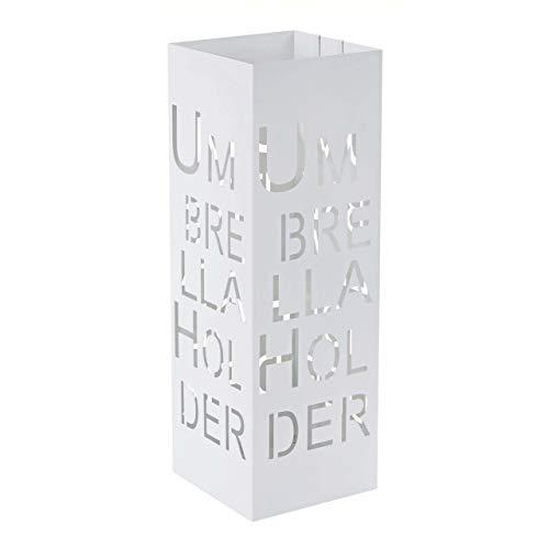 Mendler Schirmständer HWC-C78, Regenschirmständer Schirmhalter Regenschirmhalter, quadratisch 55cm ~ Schrift, weiß