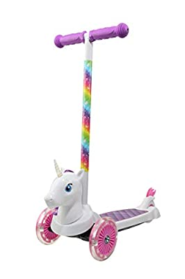 Dimensions 3D Unicorn Self Balancing Scooter ACTSCOT-471UN | Toddler Scooter & Kids Scooter, 3 Wheel Platform, Foot Activated Brake, 75 lbs Weight Limit, for Ages 3 and Up