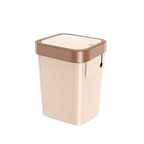 1yess Mülltonnen Kunststoff Mülleimer Mit Deckel Automatische Abdichtung Button Schalter Recycling Bin Müll Müll Hotel Zimmer Abfallbehälter (Farbe: Weißbraun, Größe: c)